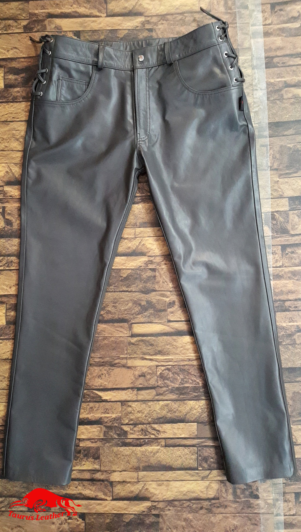 TAURUS LEATHER Grey 501 Style Cow Leather Pant