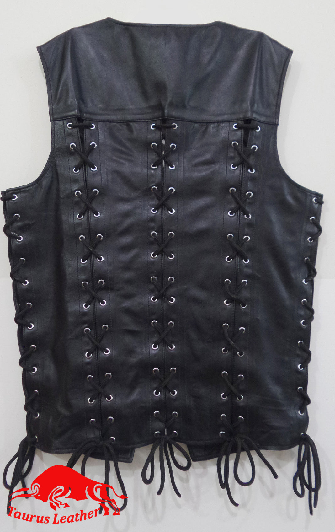 TAURUS LEATHER Back Sheep Leather Lacing Vest