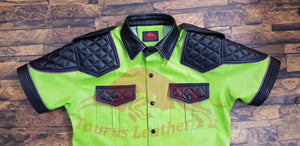 TAURUS LEATHER Lime Green Sheep Leather Shirt With Black Contrast And Purple Trimming