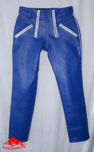 TAURUS LEATHER Navy Blue Sheep Leather Pant With White Trimming