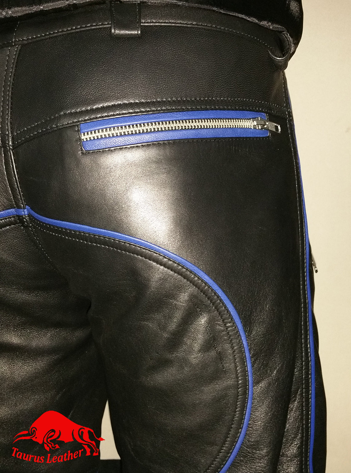 TAURUS LEATHER Black Sheep Leather Pant & Shirt With Blue Trimming
