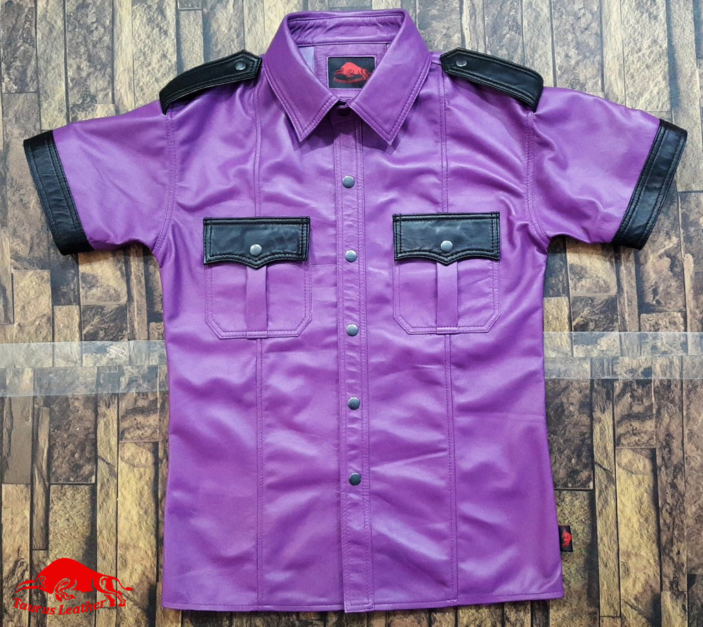 TAURUS LEATHER Purple Sheep Leather Shirt With Black Contrast