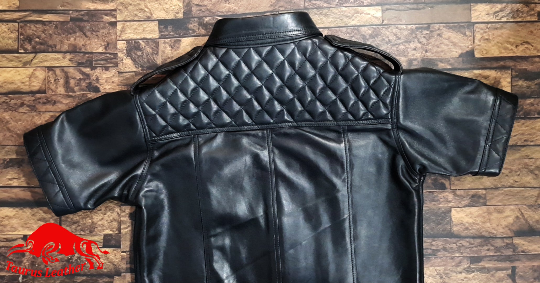 TAURUS LEATHER Black Sheep Leather Shirt With Quilted Design
