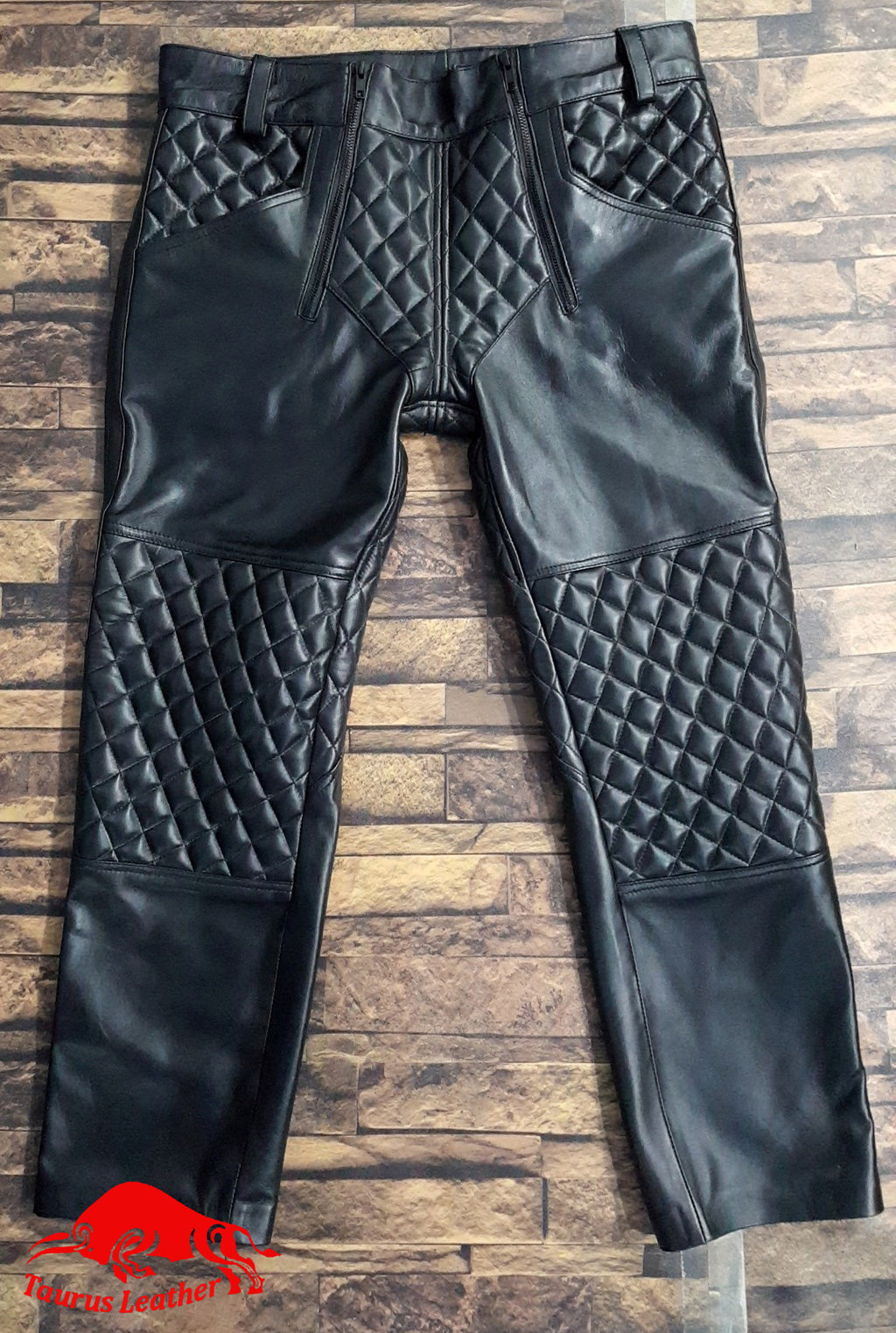 TAURUS LEATHER Biker Style Quilted Pant Sheep Leather