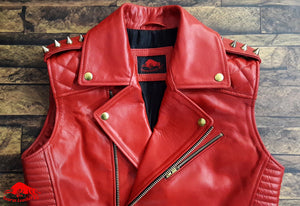 TAURUS LEATHER Red Cow Leather Sleeves less Biker Style Jacket