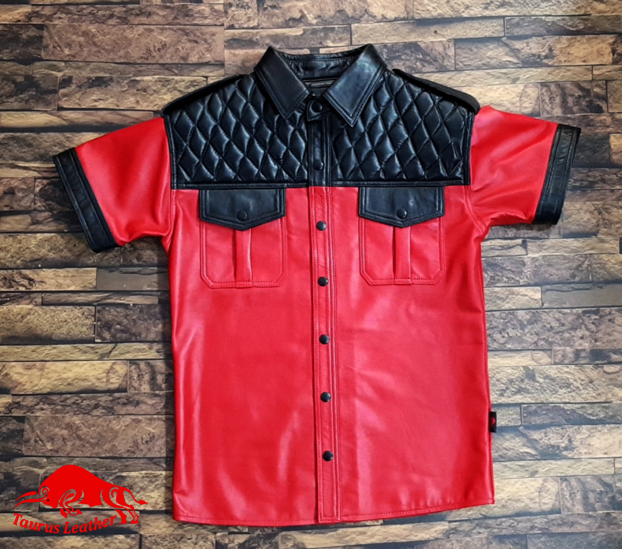 Black And Red Sheep Leather Shirt Quilted Design