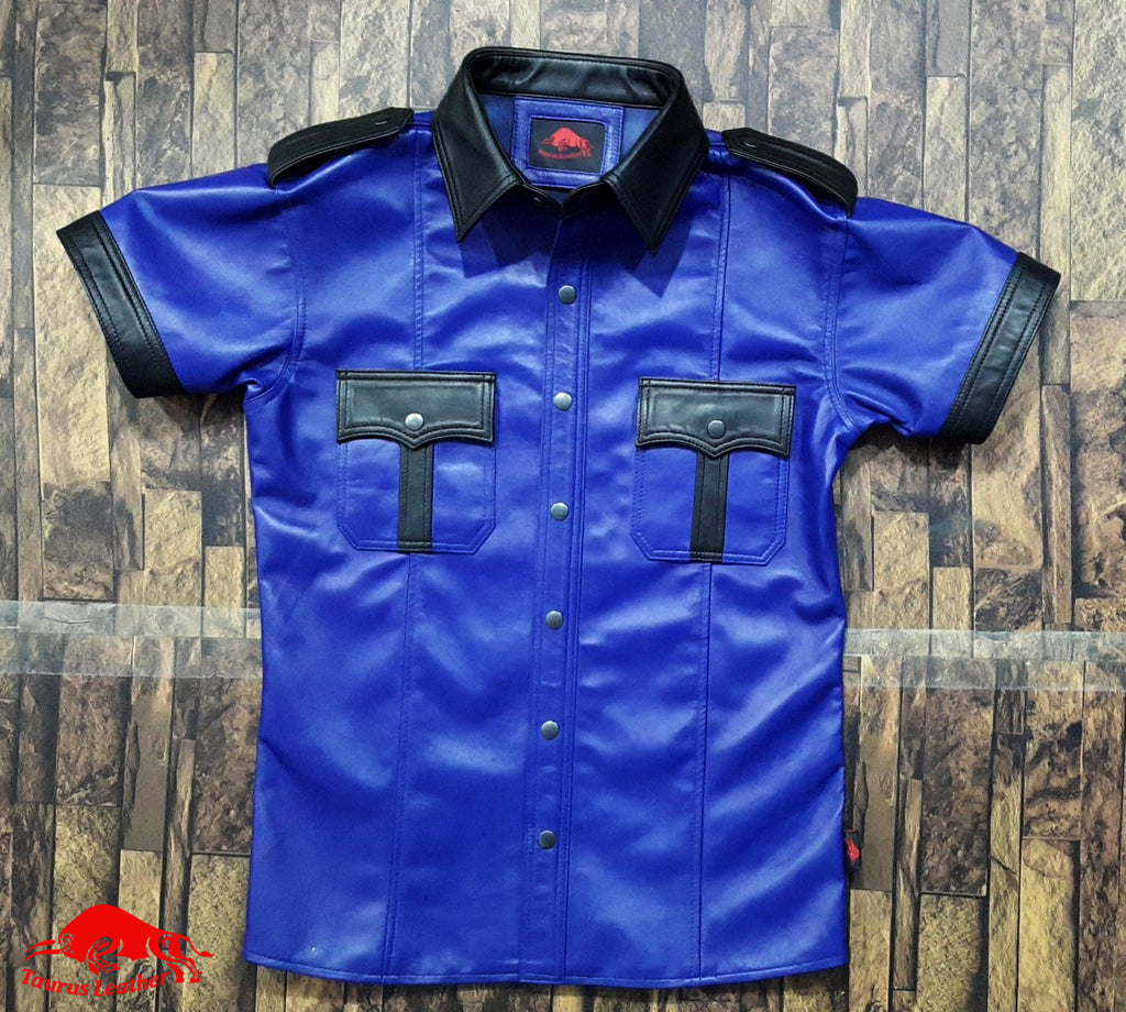 TAURUS LEATHER Navy Blue Color Sheep Leather Shirt