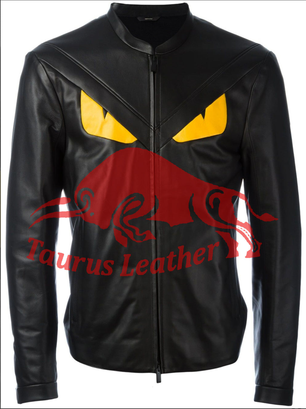 TAURUS LEATHER Black Sheep Leather Jacket with Snake Eye design