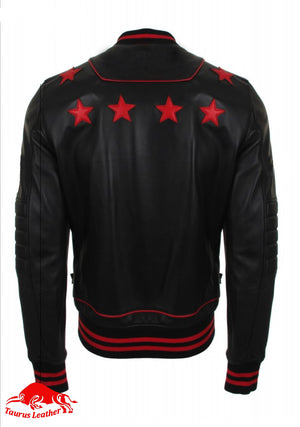 Black sheep leather jacket with red trimming and star