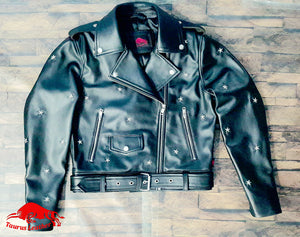 TAURUS LEATHER Biker Style Sheep Leather Jacket With Star
