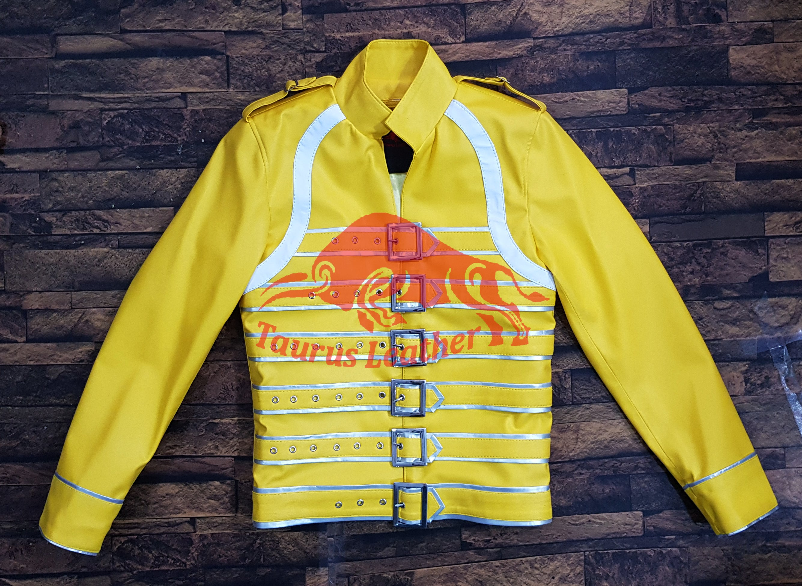 TAURUS LEATHER Yellow Sheep Leather Buckle Jacket