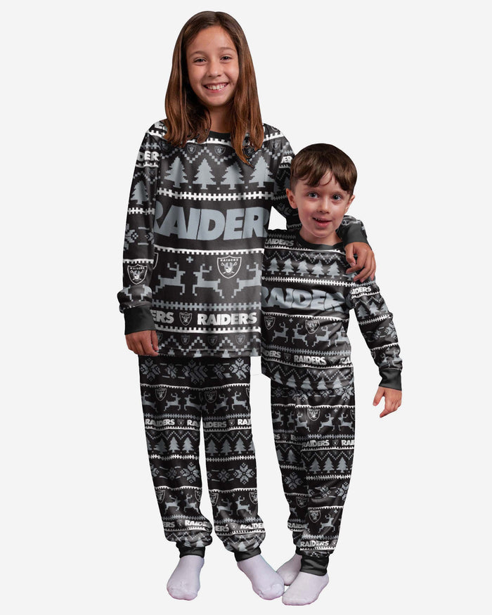 Las Vegas Raiders Youth Family Holiday Pyjamas FOCO 4 - FOCO.com | UK & IRE