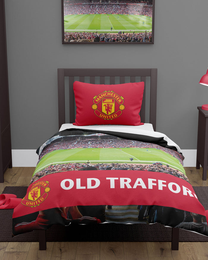 Manchester United FC Stadium Digital Print Single Duvet FOCO - FOCO.com | UK & IRE