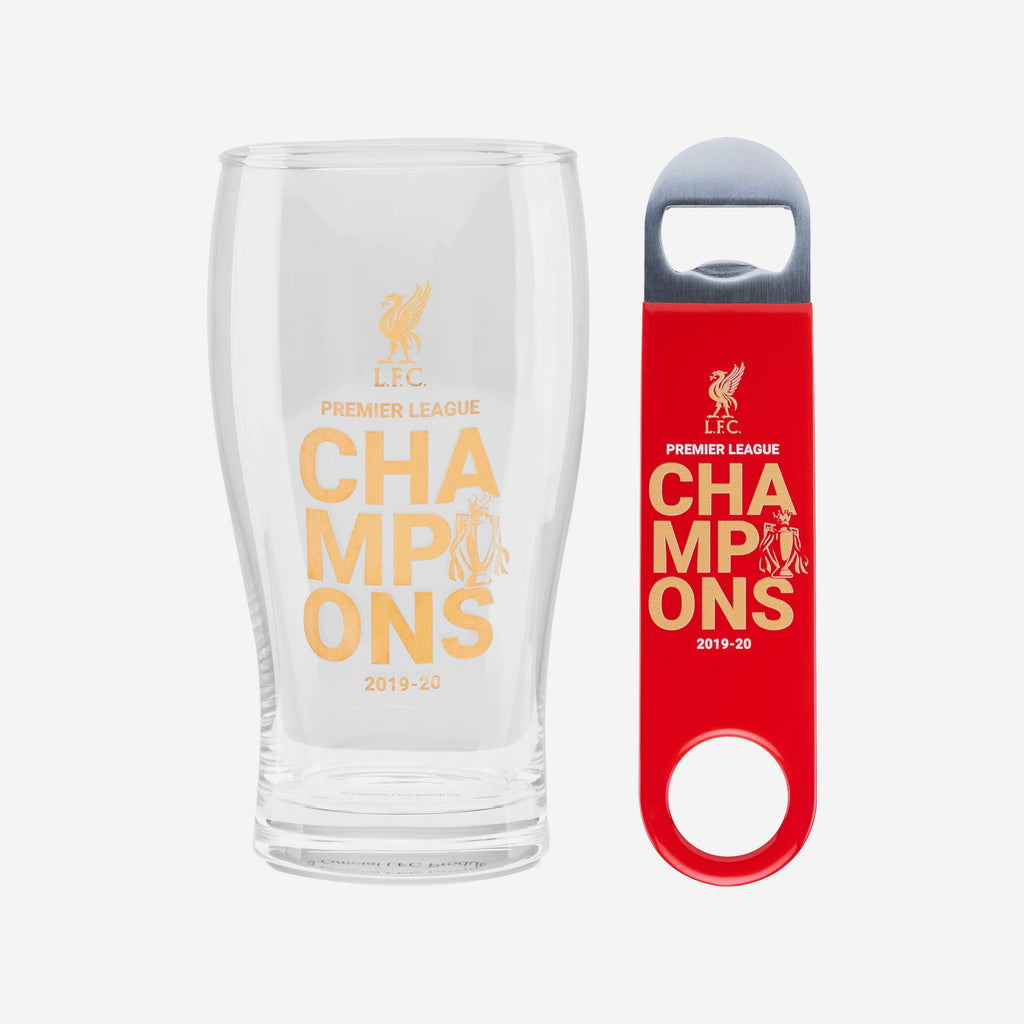 Liverpool FC Champions Pint Glass and Opener Set FOCO - FOCO.com | UK & IRE