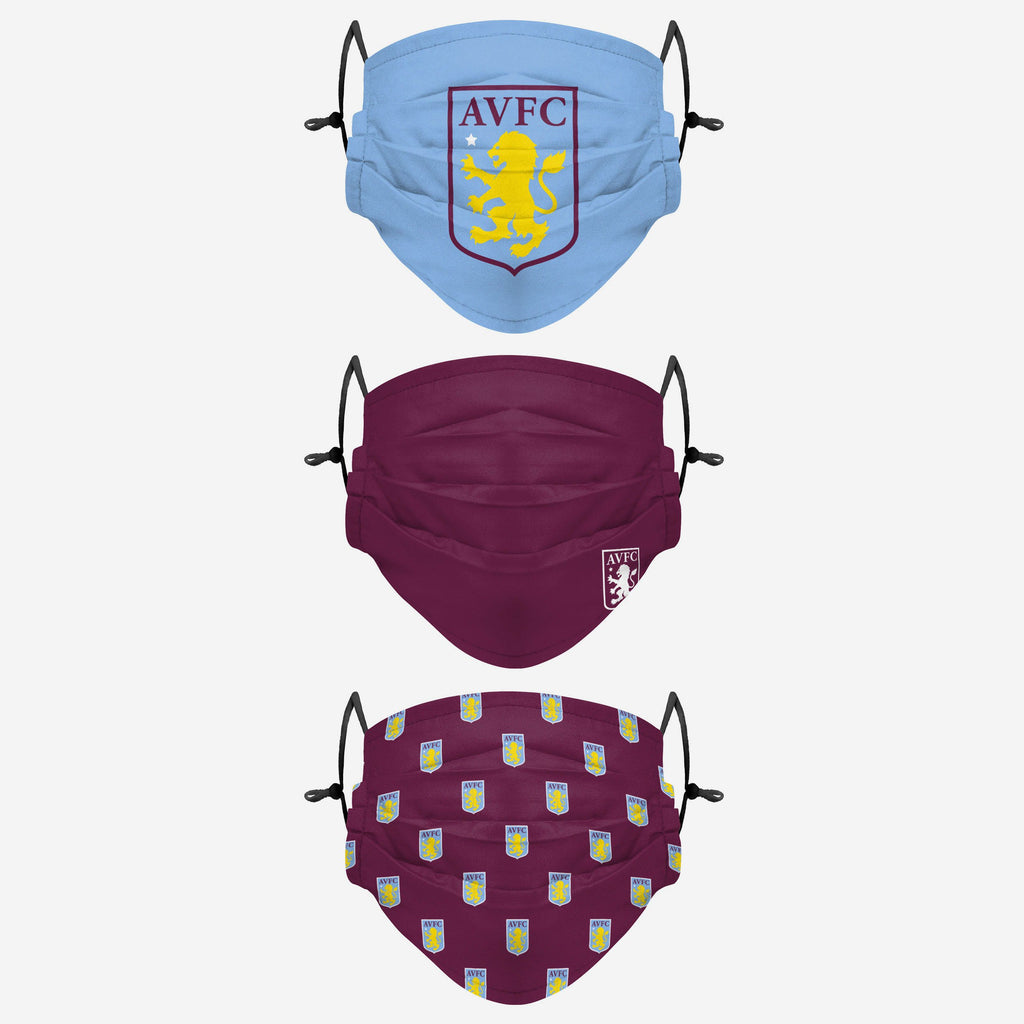 Aston Villa FC Pleated 3 Pack Face Cover FOCO Adult - FOCO.com | UK & IRE