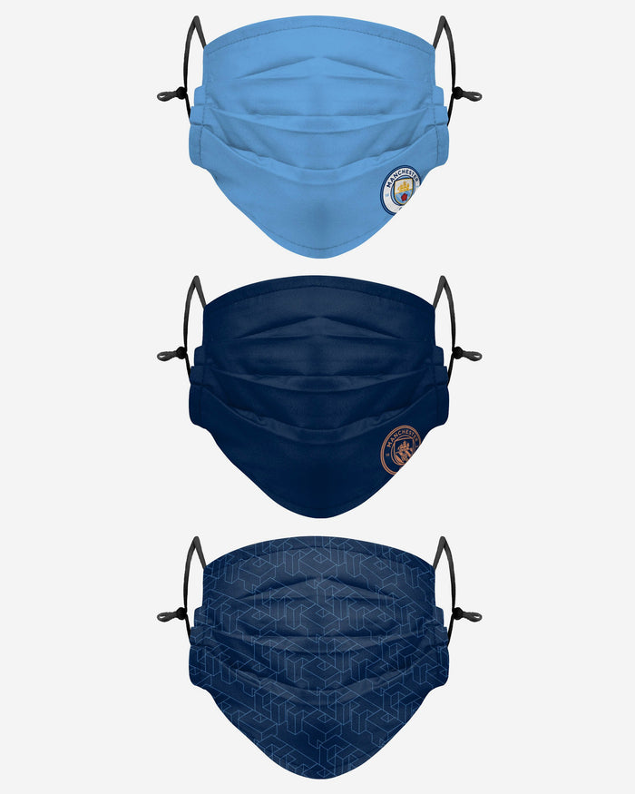 Manchester City FC Pleated 3 Pack Face Cover FOCO Adult - FOCO.com | UK & IRE