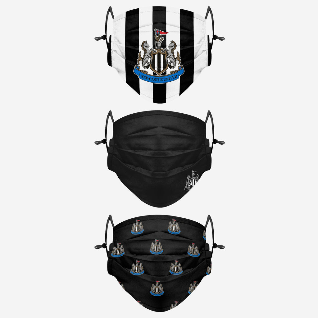 Newcastle United FC Pleated 3 Pack Face Cover FOCO Adult - FOCO.com | UK & IRE