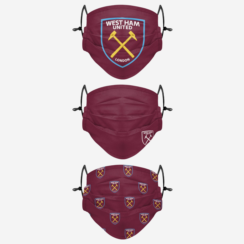 West Ham United FC Pleated 3 Pack Face Cover FOCO Adult - FOCO.com | UK & IRE