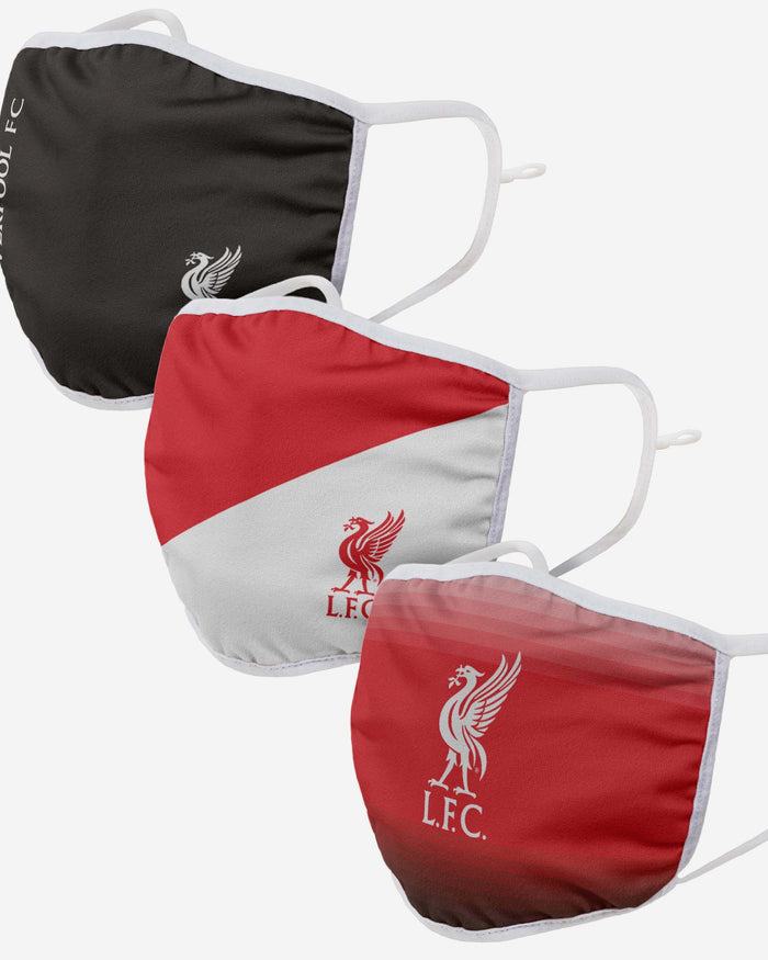 Liverpool FC 3 Pack Adjustable Printed Face Cover FOCO - FOCO.com | UK & IRE