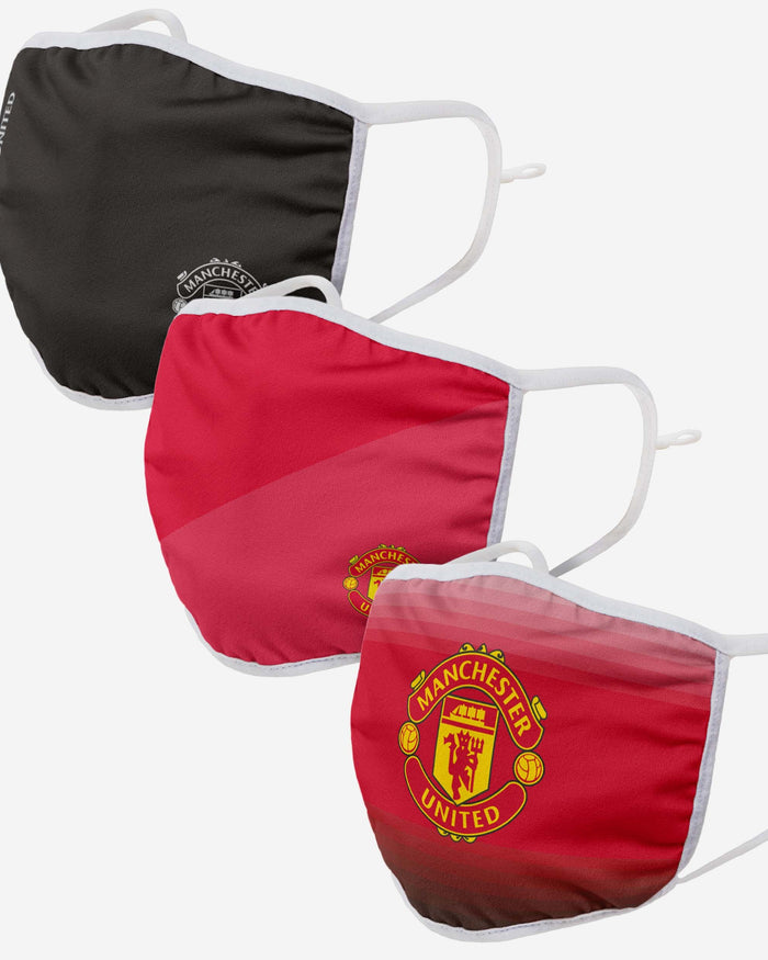 Manchester United FC 3 Pack Adjustable Printed Face Cover FOCO - FOCO.com | UK & IRE