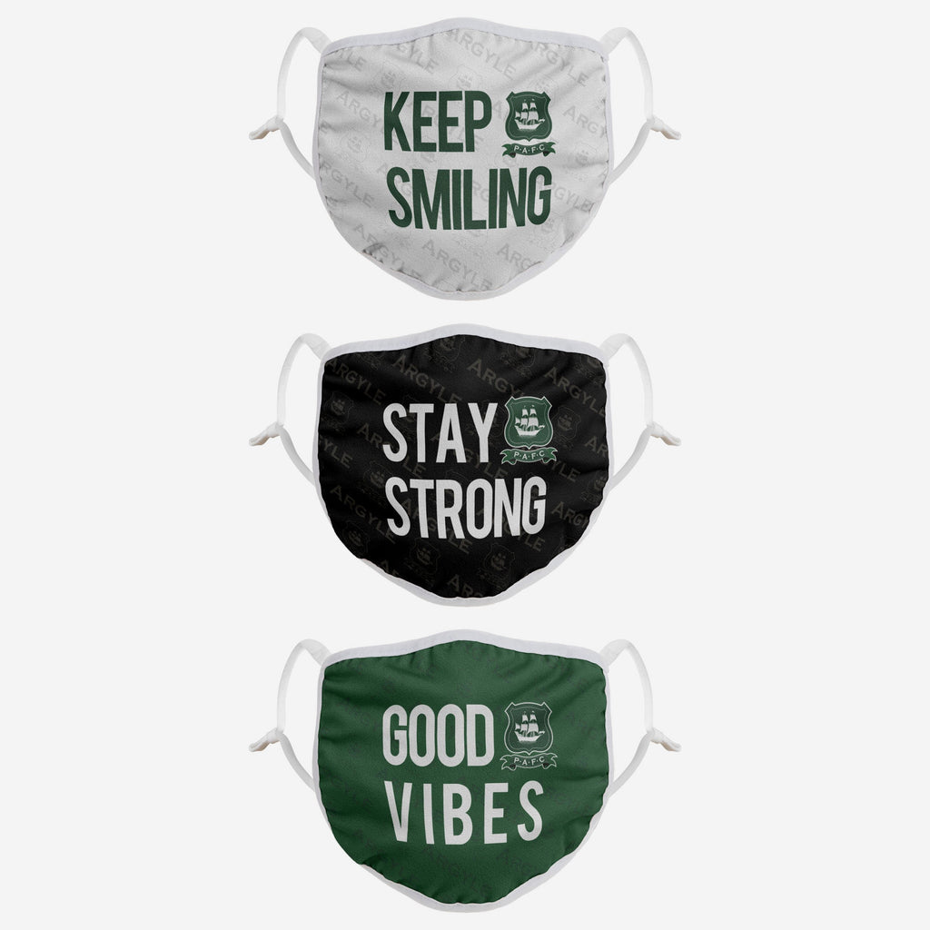 Plymouth FC Positive Slogan 3 Pack Face Cover FOCO - FOCO.com | UK & IRE