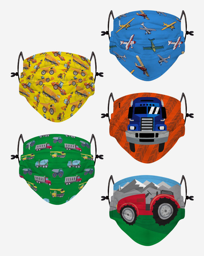 Planes Trains & Cars Pack Youth Adjustable 5 Pack Face Cover FOCO - FOCO.com | UK & IRE