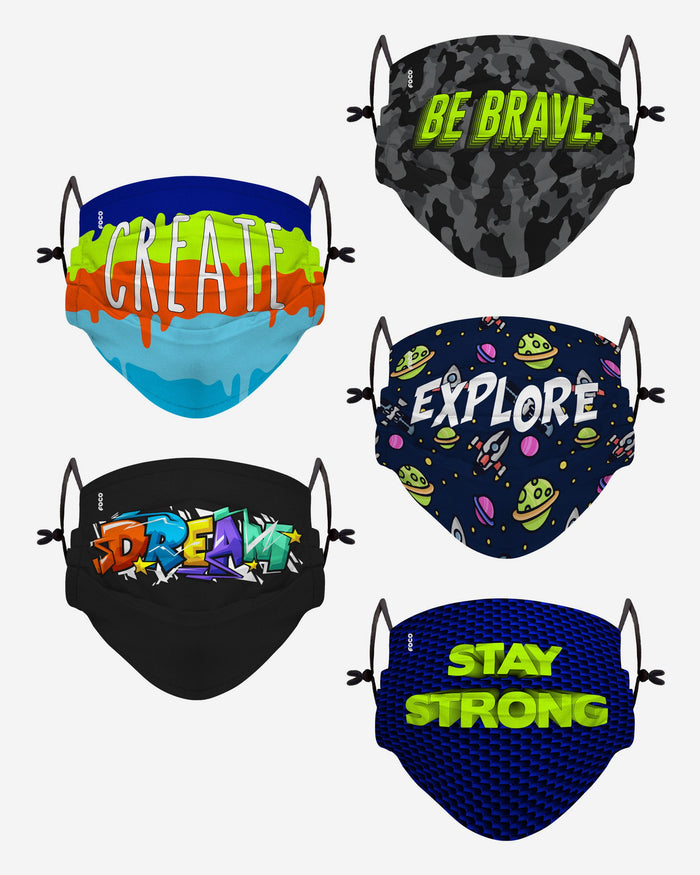 Stay Strong Pack Youth Adjustable 5 Pack Face Cover FOCO - FOCO.com | UK & IRE