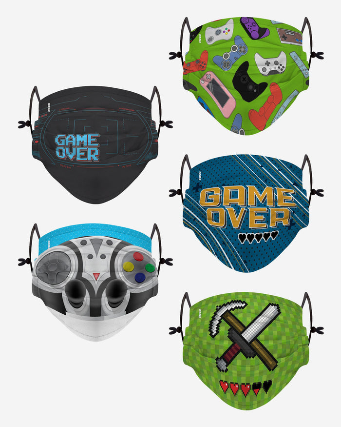 Game Over Pack Youth Adjustable 5 Pack Face Cover FOCO - FOCO.com | UK & IRE