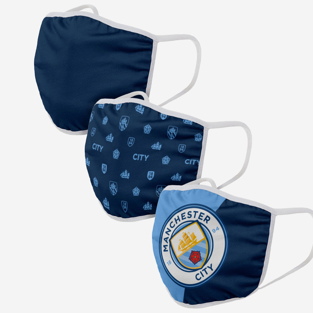 Manchester City FC 3 Pack Face Cover FOCO - FOCO.com | UK & IRE