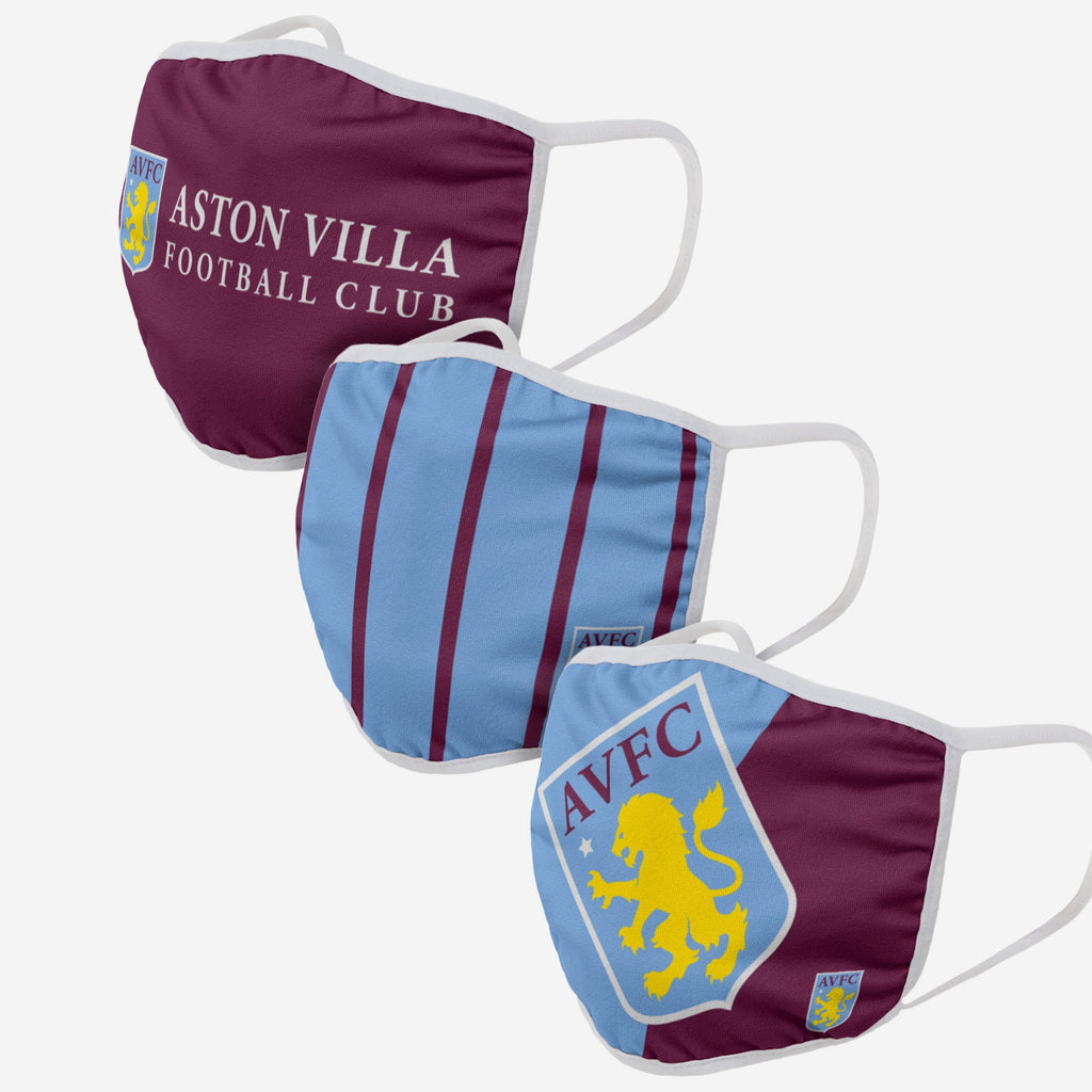 Aston Villa FC 3 Pack Face Cover FOCO Adult - FOCO.com | UK & IRE