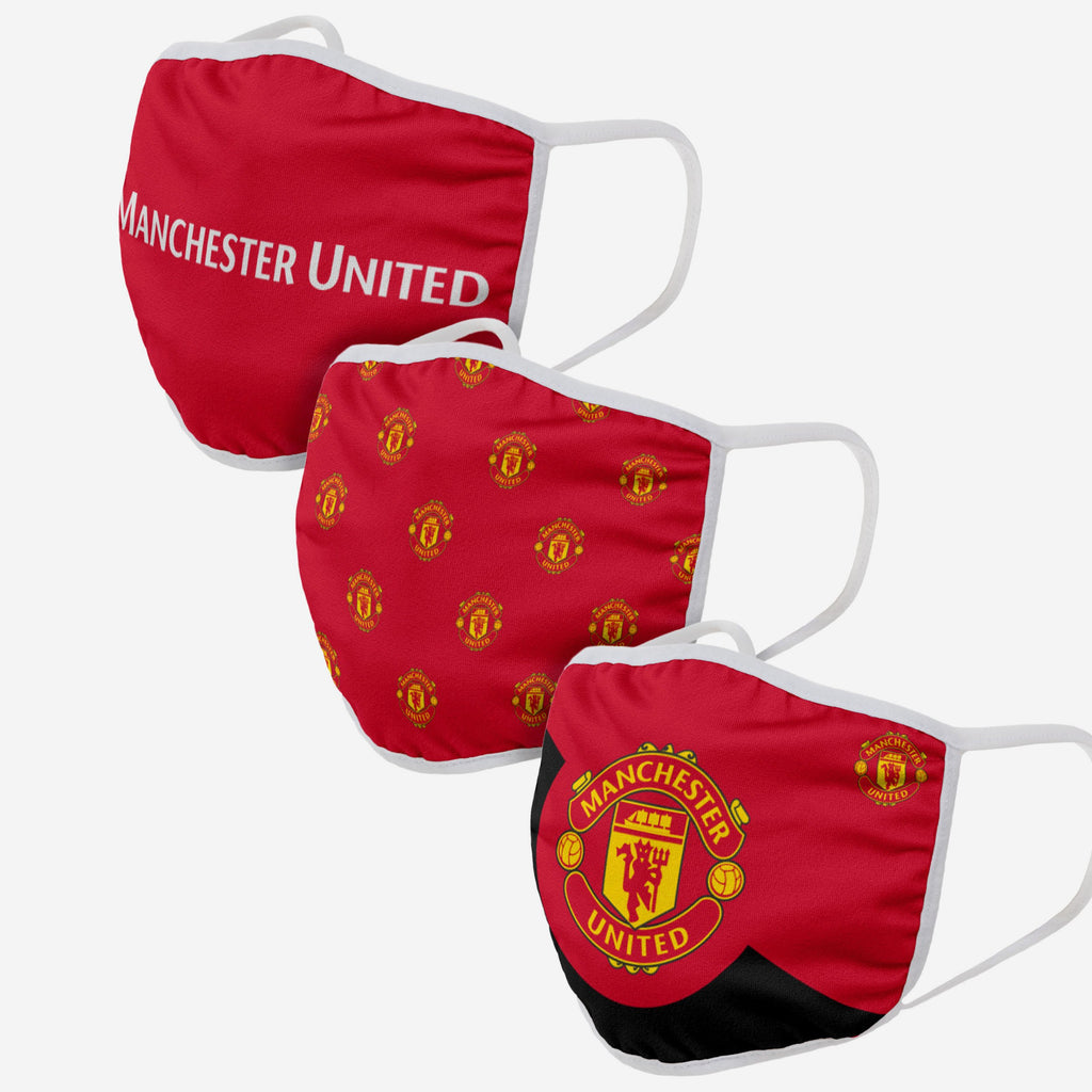 Manchester United FC 3 Pack Face Cover FOCO Adult - FOCO.com | UK & IRE