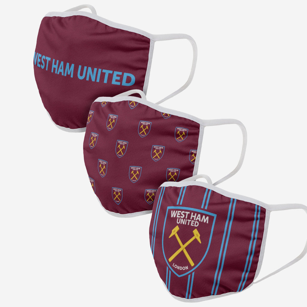 West Ham United FC 3 Pack Face Cover FOCO Adult - FOCO.com | UK & IRE