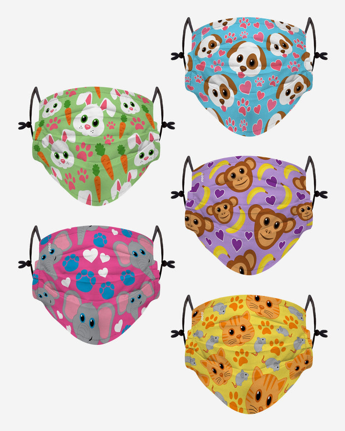 Animal Light Pack Youth Adjustable 5 Pack Face Cover FOCO - FOCO.com | UK & IRE
