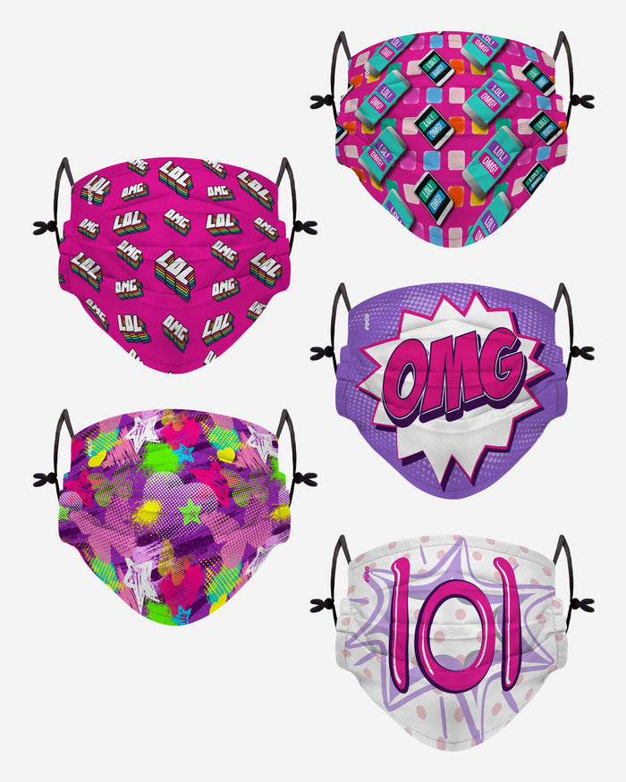 LOL OMG Pack Youth Adjustable 5 Pack Face Cover FOCO - FOCO.com | UK & IRE