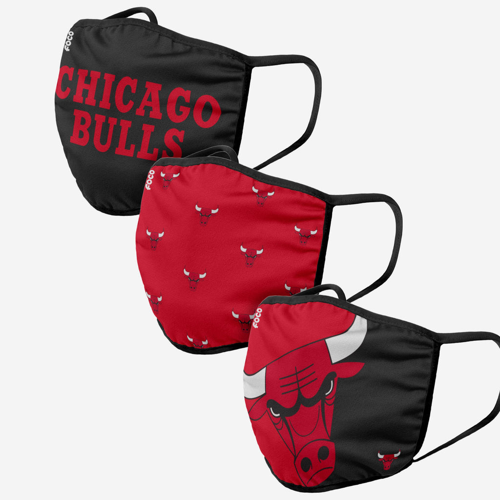 Chicago Bulls 3 Pack Face Cover