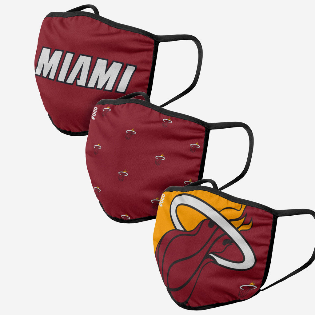 Miami Heat 3 Pack Face Cover FOCO - FOCO.com | UK & IRE