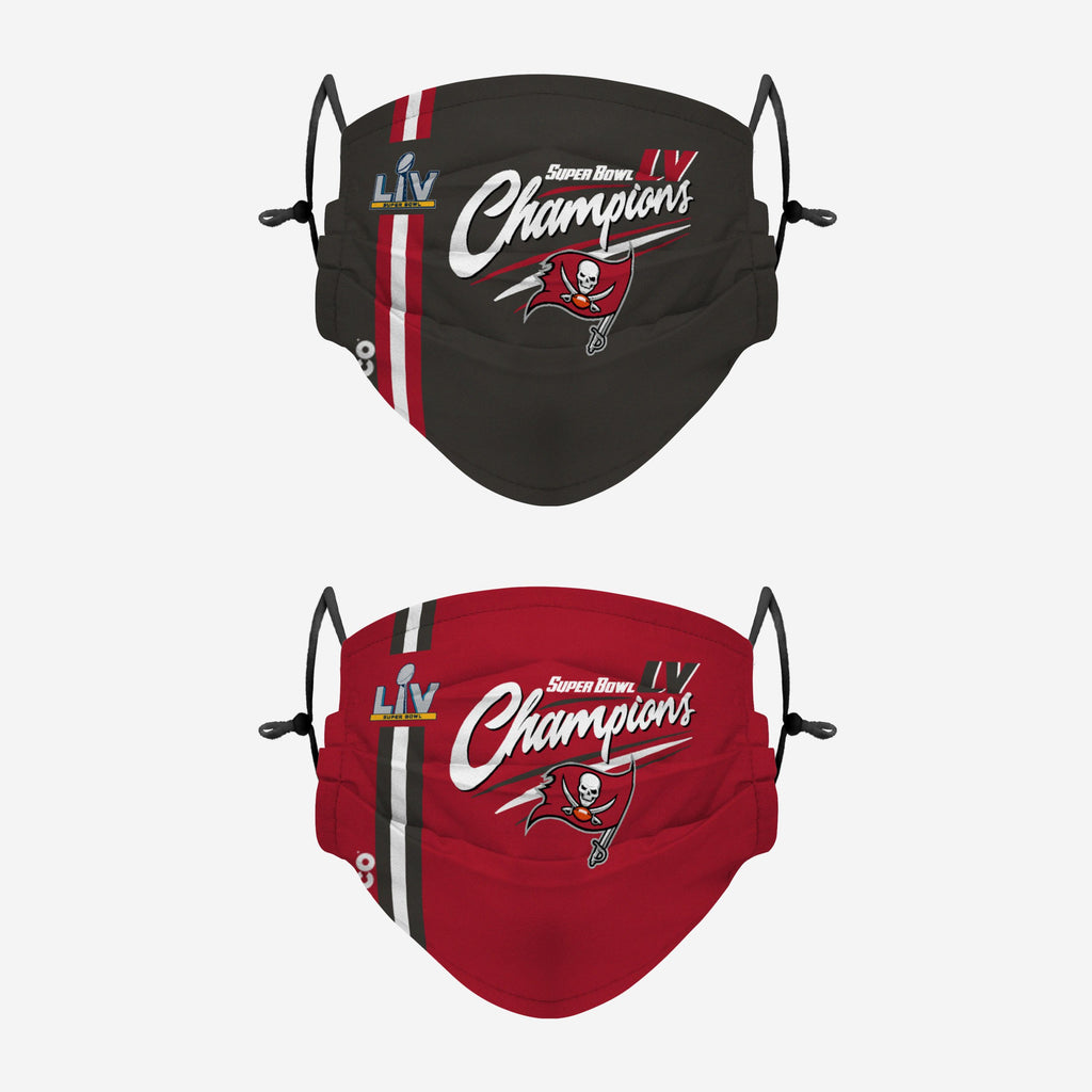 Tampa Bay Buccaneers Super Bowl LV Champions Adjustable 2 Pack Face Cover FOCO - FOCO.com | UK & IRE