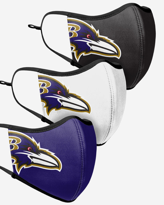 Baltimore Ravens Sport 3 Pack Face Cover FOCO - FOCO.com | UK & IRE