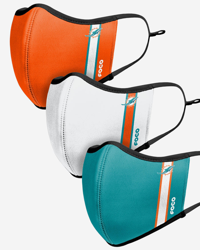 Miami Dolphins Sport 3 Pack Face Cover FOCO - FOCO.com | UK & IRE
