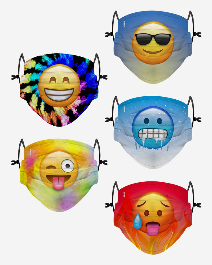 Emoji Pack Youth Adjustable 5 Pack Face Cover FOCO - FOCO.com | UK & IRE