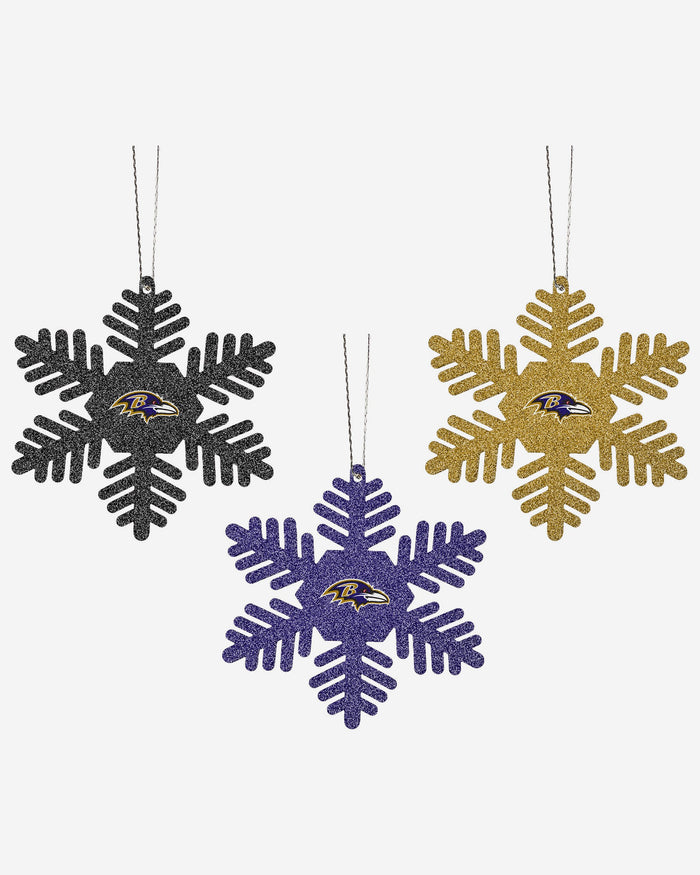 Baltimore Ravens 3 Pack Glitter Snowflake Ornament FOCO - FOCO.com | UK & IRE