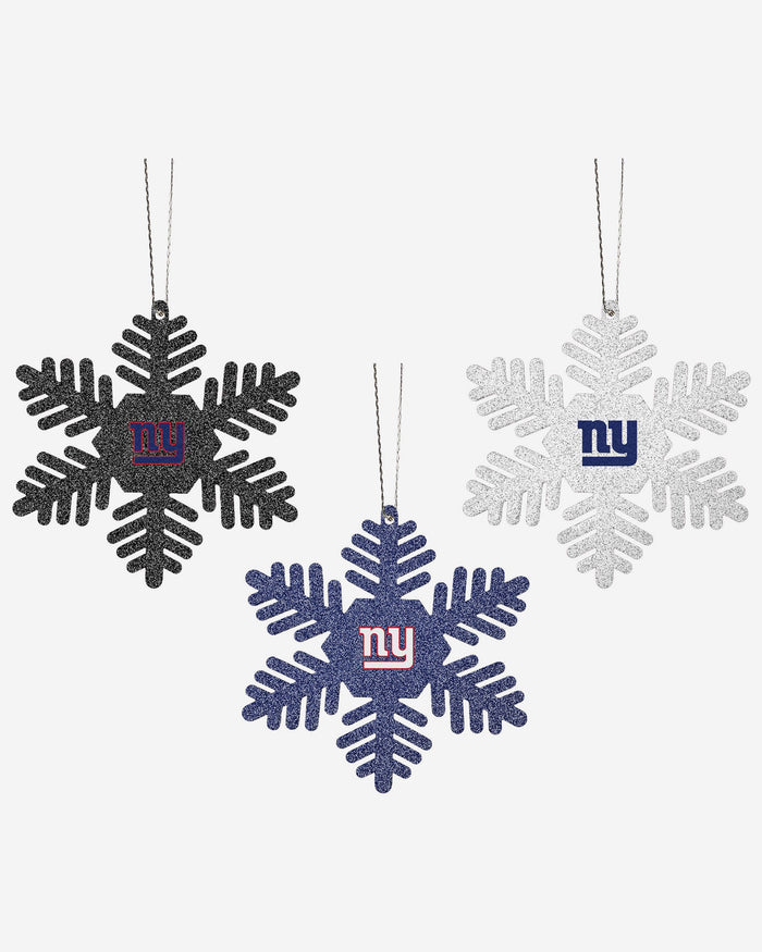 New York Giants 3 Pack Glitter Snowflake Ornament FOCO - FOCO.com | UK & IRE