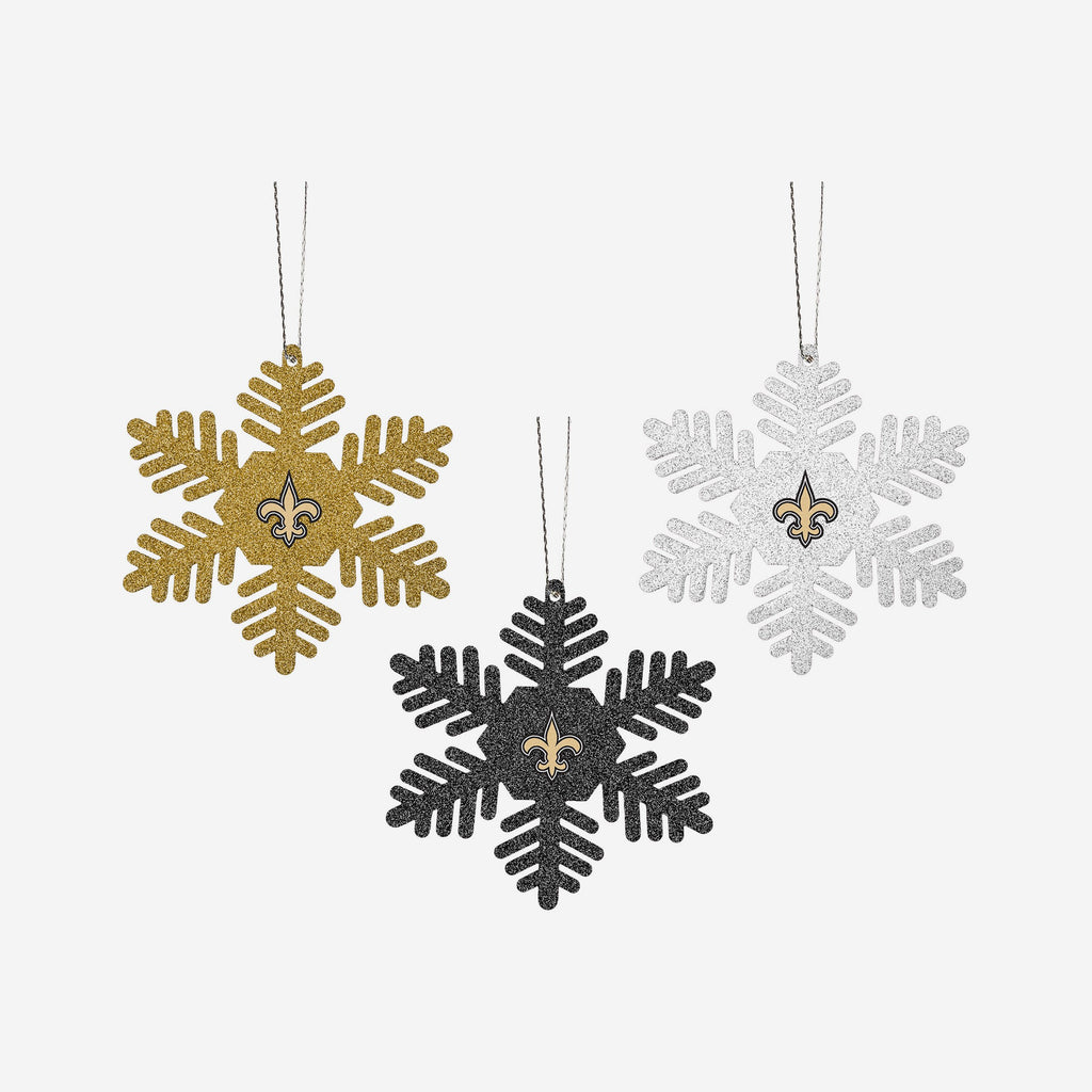 New Orleans Saints 3 Pack Glitter Snowflake Ornament FOCO - FOCO.com | UK & IRE