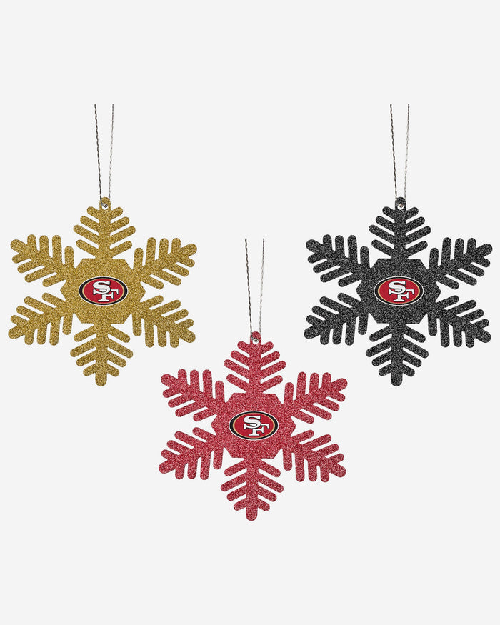 San Francisco 49ers 3 Pack Glitter Snowflake Ornament FOCO - FOCO.com | UK & IRE