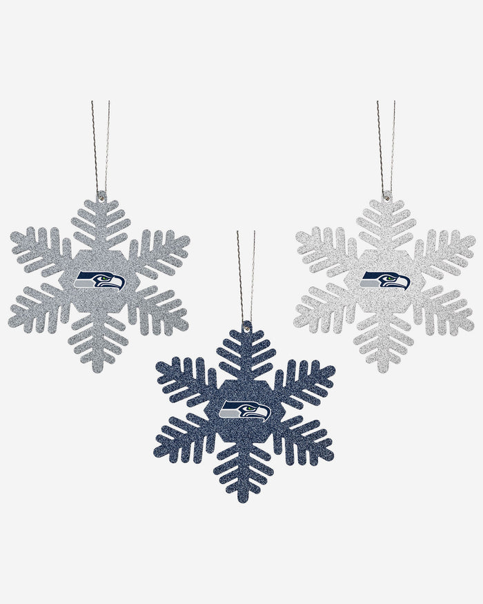 Seattle Seahawks 3 Pack Glitter Snowflake Ornament FOCO - FOCO.com | UK & IRE