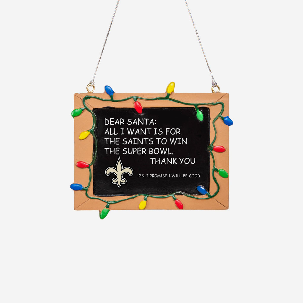 New Orleans Saints Resin Chalkboard Sign Ornament FOCO - FOCO.com | UK & IRE