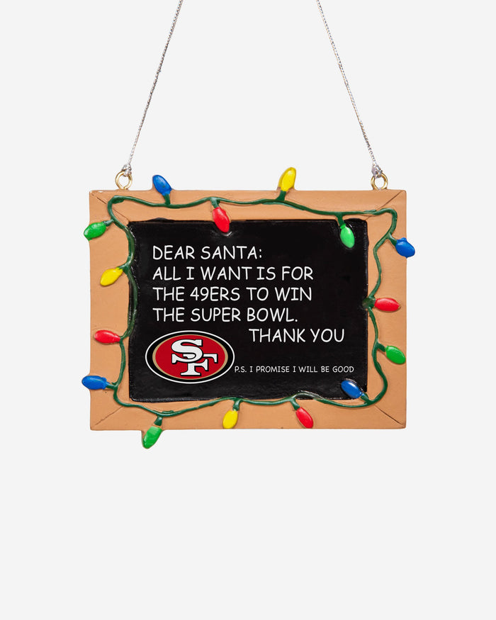 San Francisco 49ers Resin Chalkboard Sign Ornament FOCO - FOCO.com | UK & IRE
