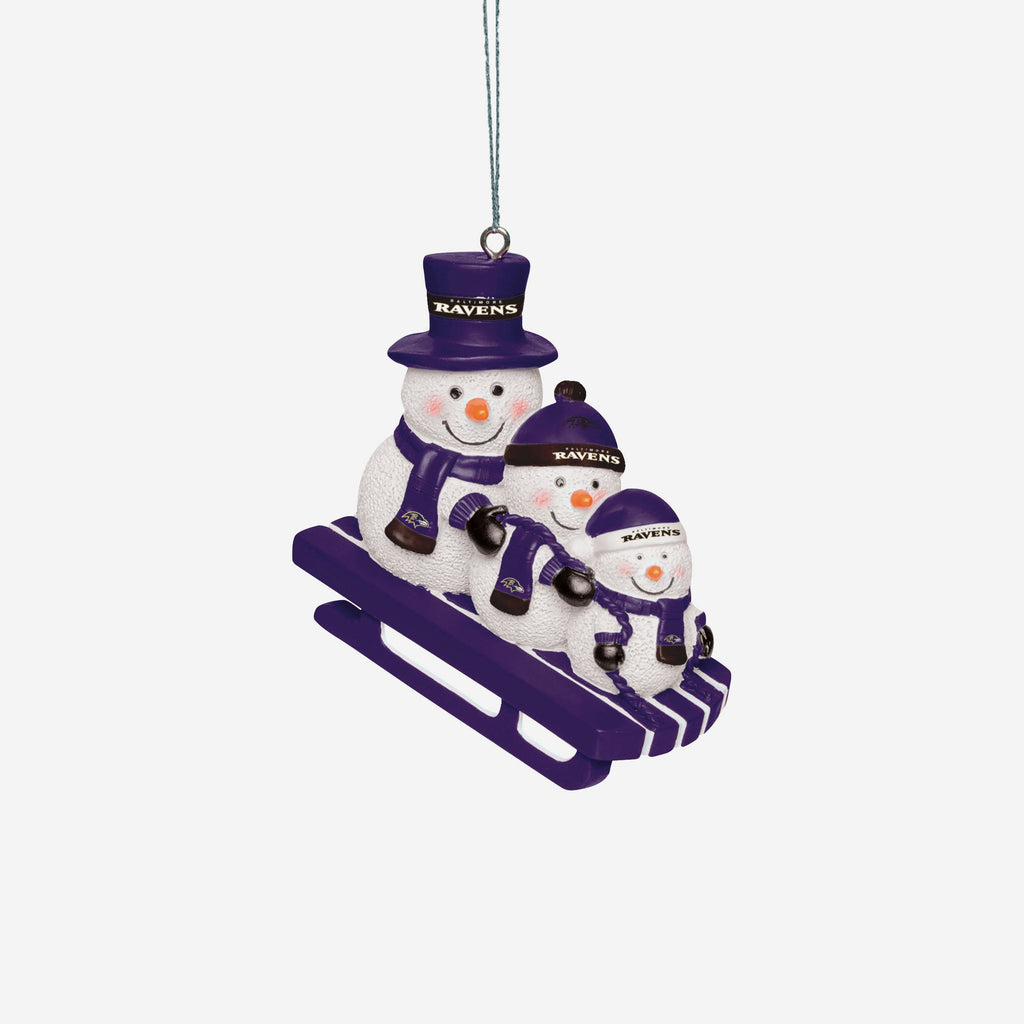 Baltimore Ravens Sledding Snowmen Ornament FOCO - FOCO.com | UK & IRE