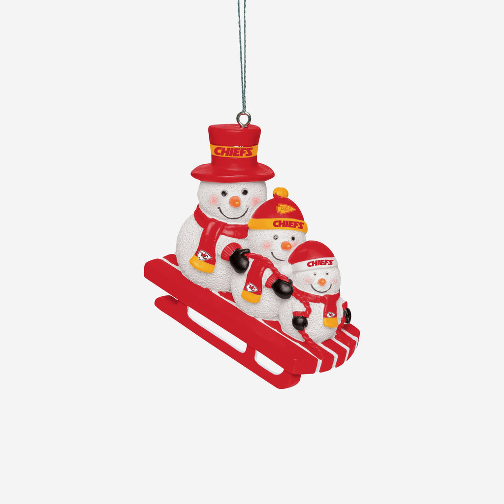 Kansas City Chiefs Sledding Snowmen Ornament FOCO - FOCO.com | UK & IRE