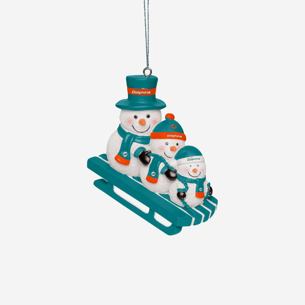 Miami Dolphins Sledding Snowmen Ornament FOCO - FOCO.com | UK & IRE